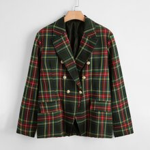 Plus Tartan Plaid Double Button Blazer