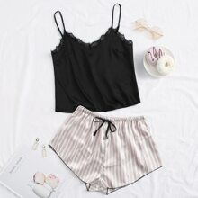 Satin Striped Lace Panel Cami Night Set