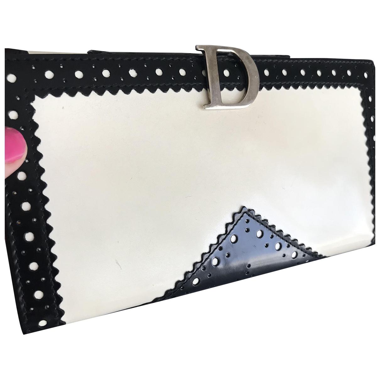 Dior - Portefeuille   pour femme en cuir - ecru