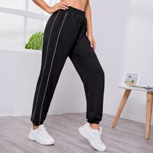 Contrast Piping High Waist Sports Pants