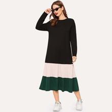 Color-block Ruffle Hem Longline Dress