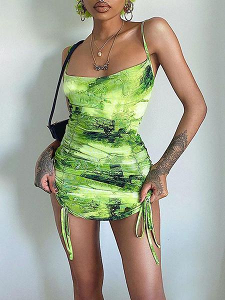 Milanoo Vestidos ajustados Tie Dye Sin mangas Verde hierba Correas Cuello con cordones Sin espalda Vestido de tubo sexy