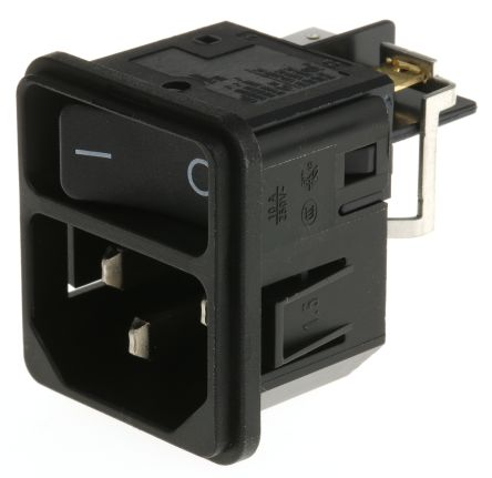 Schurter C14 Snap-In IEC Plug Male, 12A, 250 V ac