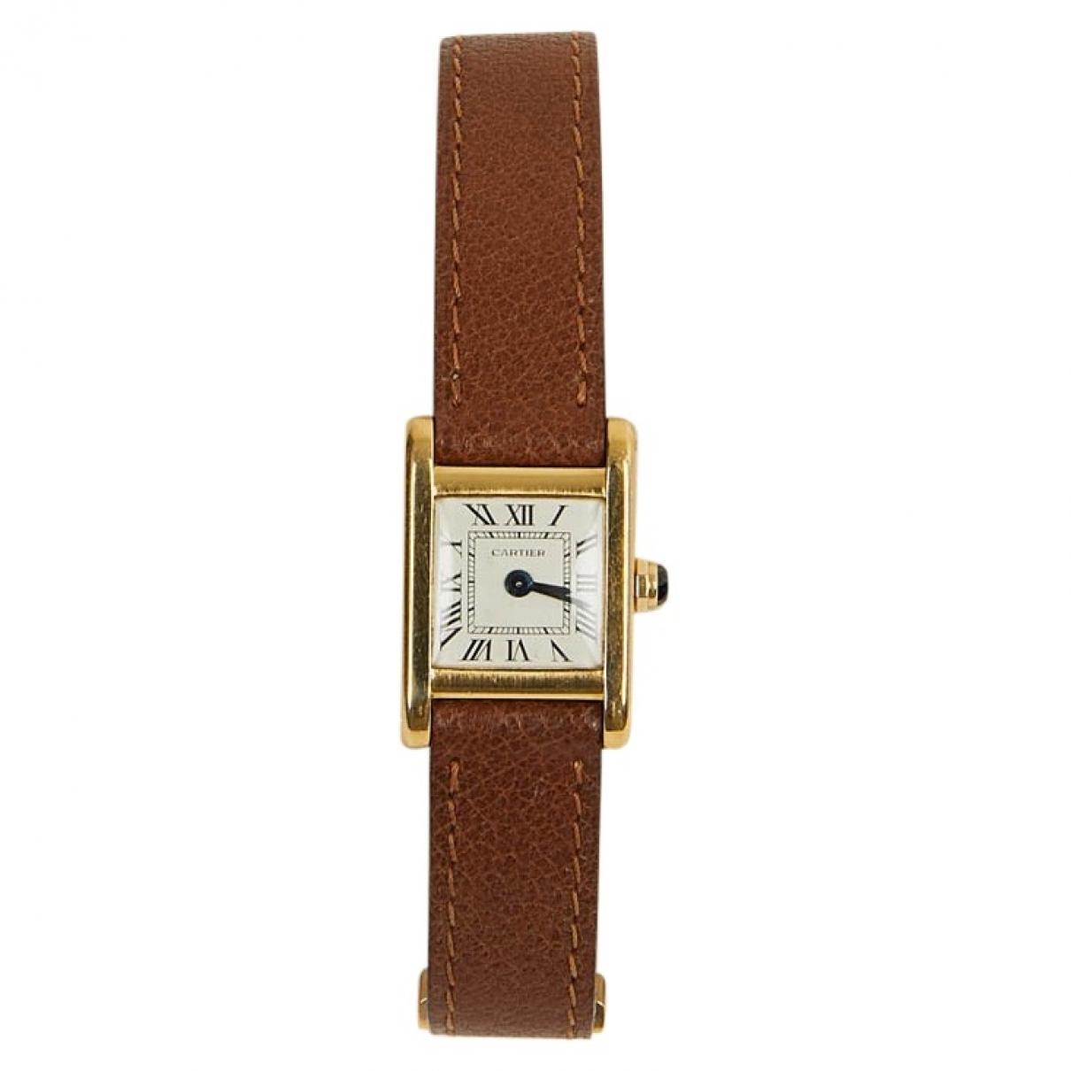 Cartier Tank Francaise Uhr in  Braun Gelbgold