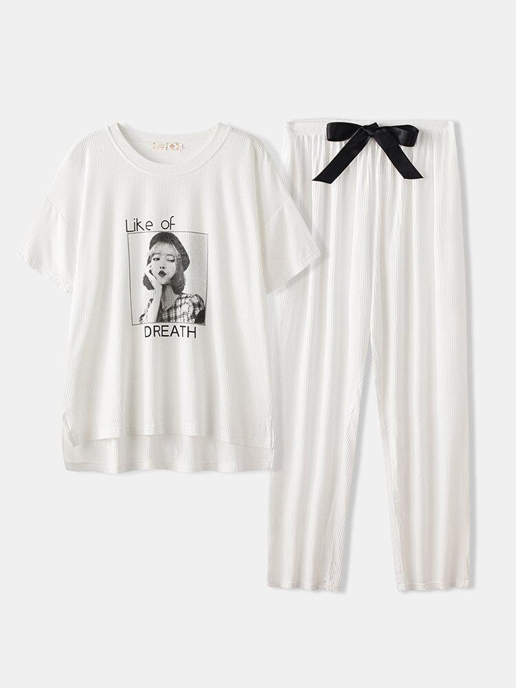Women Pajamas Sets Girl Print Modal Softies Comfy Summer Sleepwear