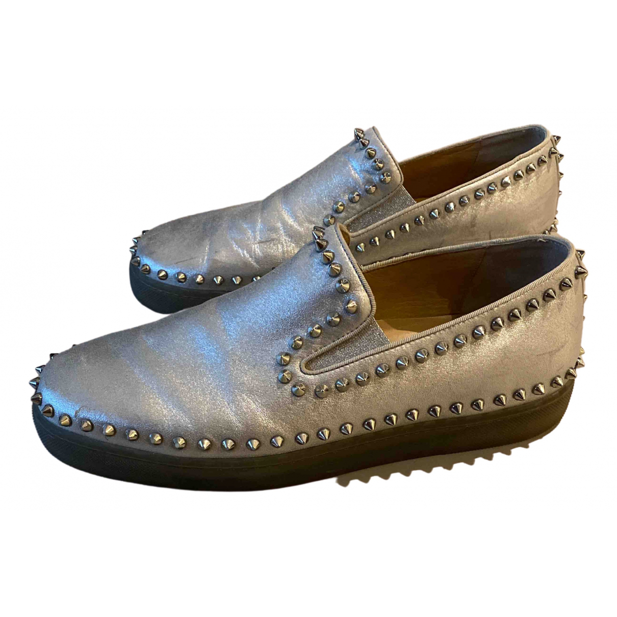 Christian Louboutin Pik Boat Silver Leather Trainers for Men 42 EU