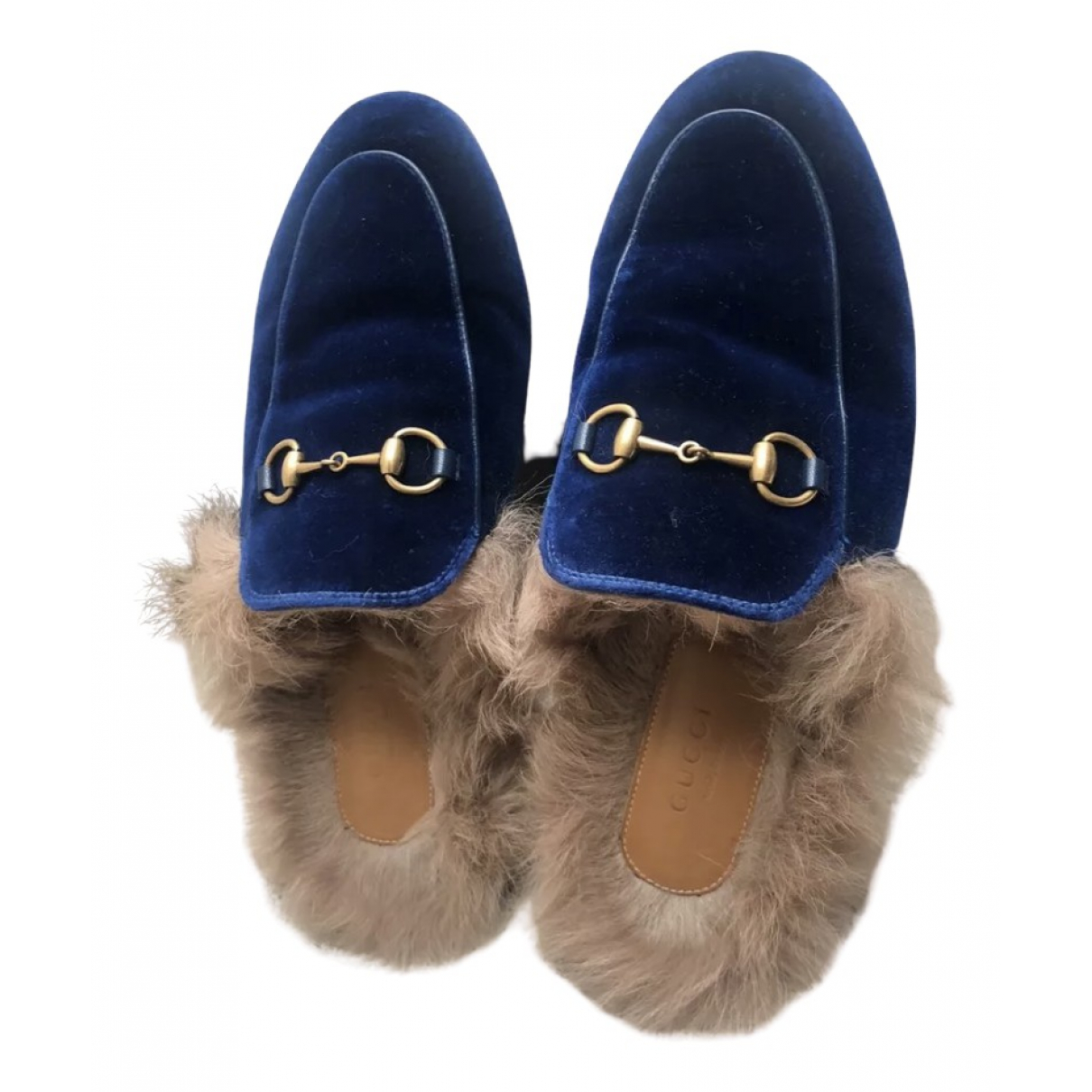 Gucci Princetown Blue Velvet Flats for Women 37 EU