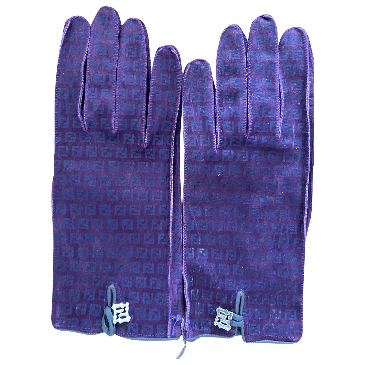 Fendi - Gants   pour femme en suede - violet