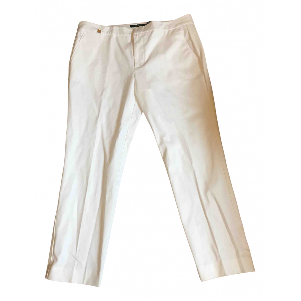 Lauren Ralph Lauren \N White Cotton Trousers for Women 12 US