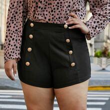 Einfarbige Shorts mit zweireihigen Knopfen