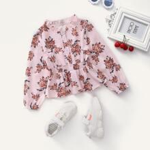 Toddler Girls Floral Print Shirred Waist Peplum Blouse