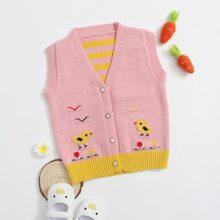 Toddler Girls Cartoon Graphic Button Front Sweater Vest
