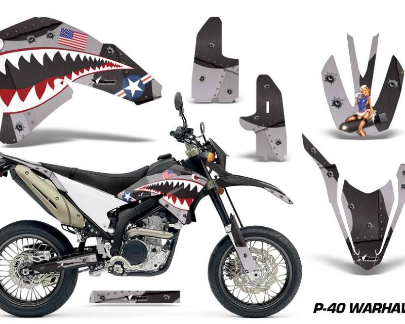 AMR Racing Dirt Bike Decal Graphics Kit Wrap For Yamaha WR250R WR250X 2007-2016áWARHAWK BLACK