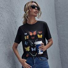 Langes T-Shirt mit Schmetterling Grafik
