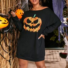 Plus Halloween Print Batwing Sleeve Sweatshirt Dress