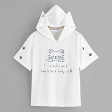 Letter & Cartoon Graphic Cat Ears Hooded Tee