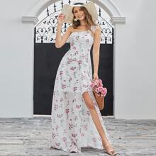 One Shoulder Ruffle Trim Floral Print Dress