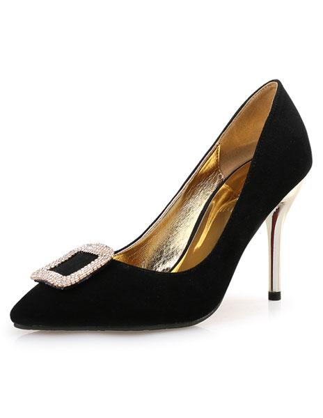Milanoo Black Suede Pumps Stiletto Heel Square Rhinestones Shoes For Women