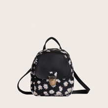 Girls Push Lock Daisy Graphic Backpack
