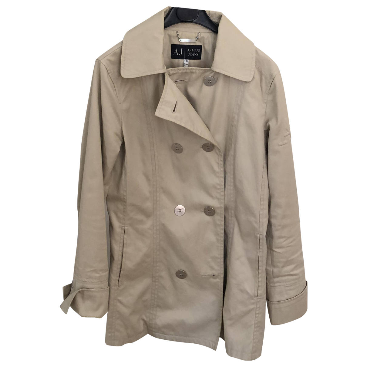 Armani Jeans \N Beige Cotton Trench coat for Women 42 IT