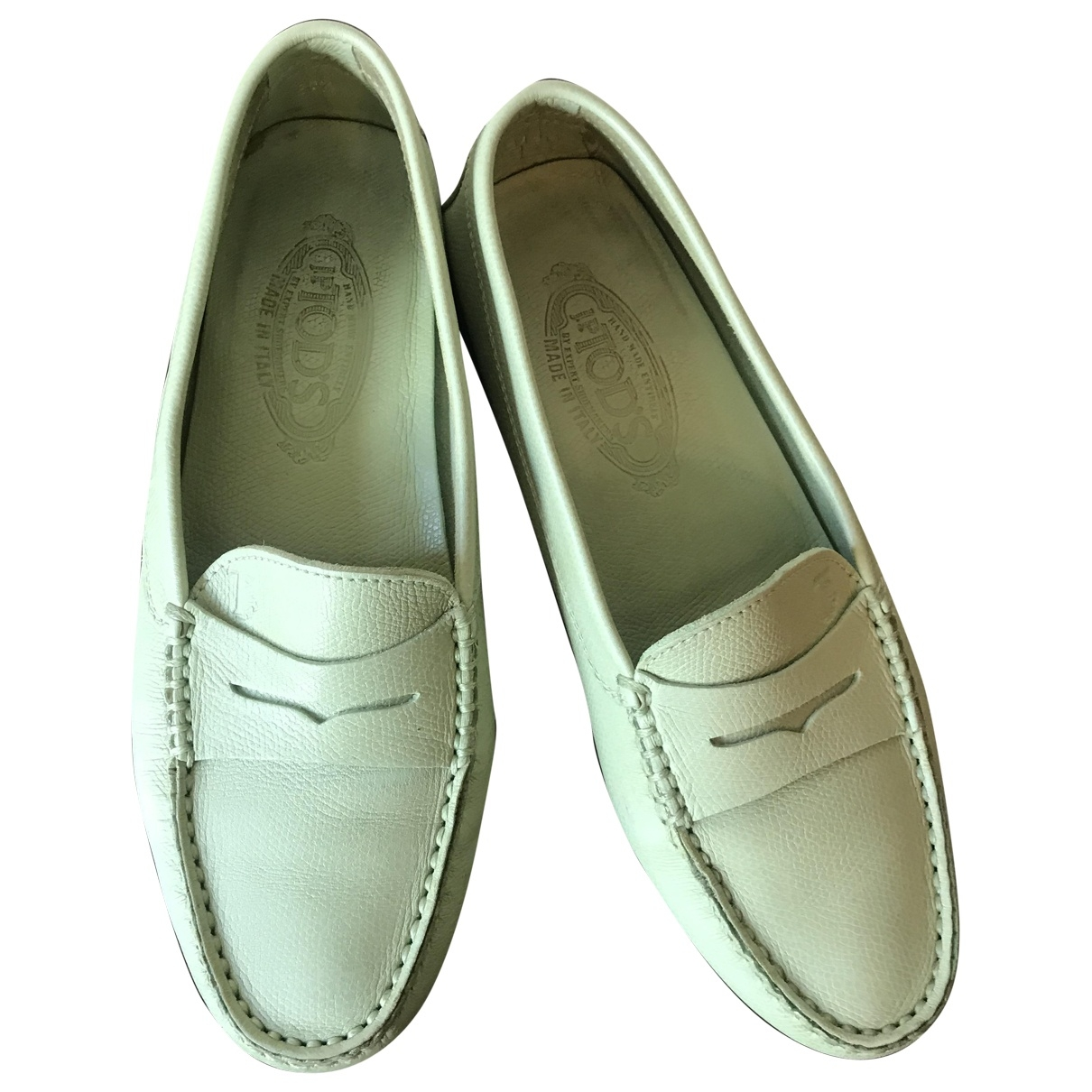 Tod's Gommino Green Leather Flats for Women 37.5 EU
