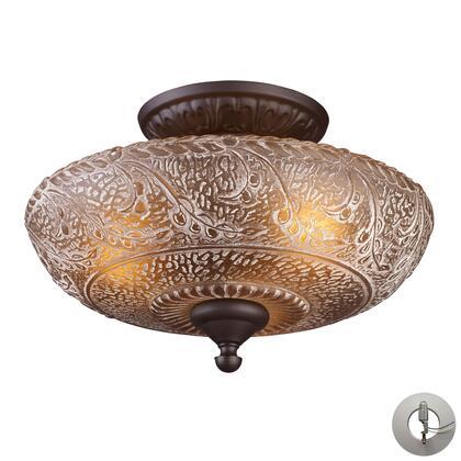 66191-3-LA Norwich 3-Light Semi Flush in Oiled Bronze with Adapter