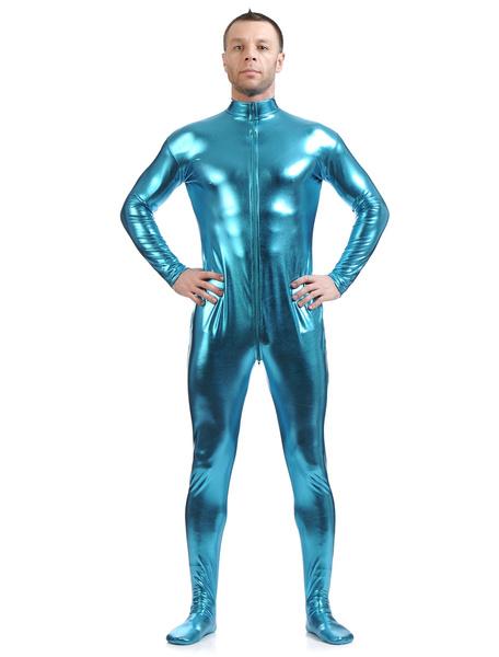 Milanoo Light Sky Blue Adults Bodysuit Shiny Metallic Catsuit for Men