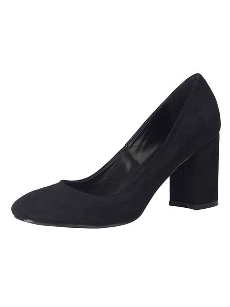 Milanoo Zapatos de tacon cuadrado negros con tacon cuadrado y zapatos de talla grande