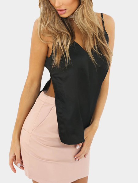 Yoins Black V-neck Slit Hem Cami Top