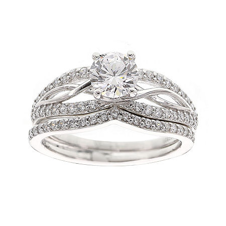 DiamonArt Cubic Zirconia Sterling Silver Infinity Bridal Ring Set, 5 , No Color Family