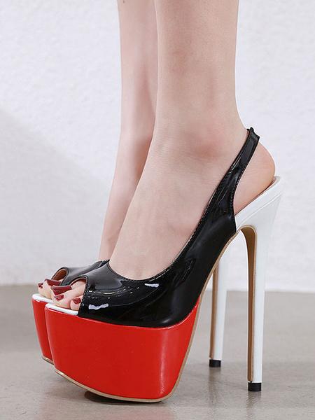 Milanoo Zapatos de plataforma con plataforma Peep Toe Slingbacks Tacon de aguja Zapatos sexy