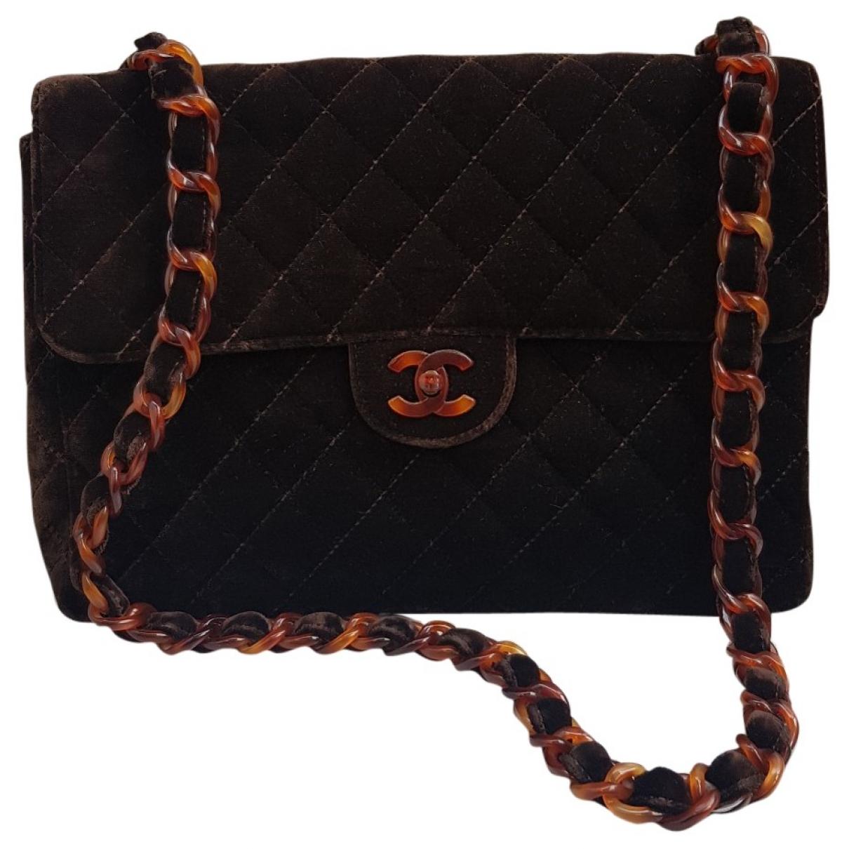 Chanel - Sac a main Timeless/Classique pour femme en velours - marron