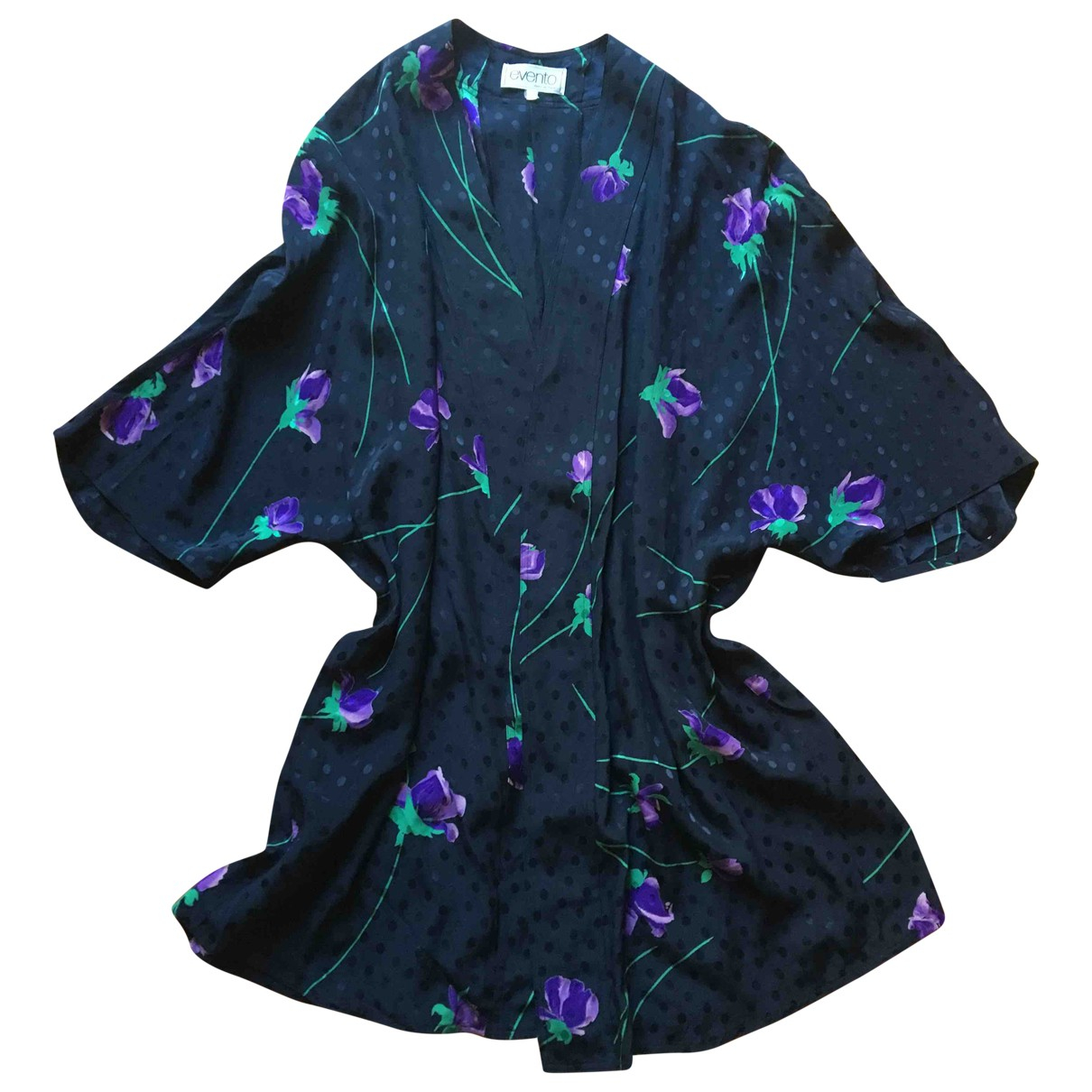 Non Signé / Unsigned Oversize Black Silk jacket for Women One Size International