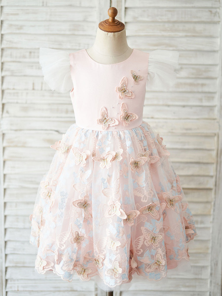 Milanoo Flower Girl Dresses Jewel Neck Lace Short Sleeves Knee-Length Princess Silhouette Bows Kids Pink Party Dresses