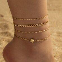 4pcs Star Decor Anklet