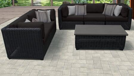 Venice Collection VENICE-06f-BLACK 6-Piece Patio Set 06f with 4 Corner Chair   1 Armless Chair   1 Coffee Table - Wheat and Black