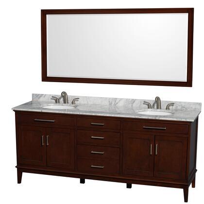 WCV161680DCDCMUNRM70 80 in. Double Bathroom Vanity in Dark Chestnut  White Carrera Marble Countertop  Undermount Oval Sinks  and 70 in.