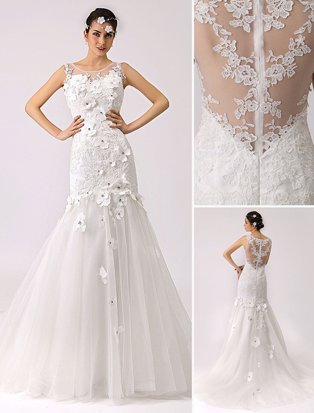 Milanoo 3d Floral Trumpet Wedding Dress with Illusion Neckline and Sheer Back