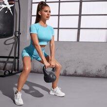 Raglan Sleeve Tee With Biker Shorts Sports Set