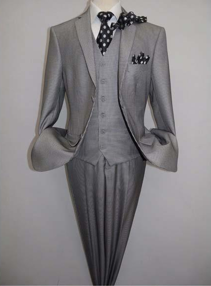 VITALI Men's Two Button Sharkskin Houndstooth Black White 3 Piece Suit