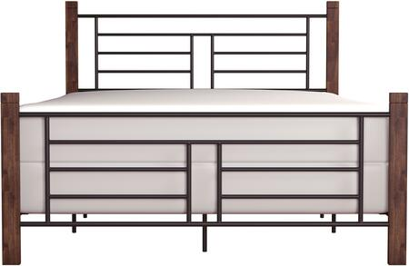 Raymond Collection 2591-460 Metal Full Bed with Spindle-style details and Wood Posts in Black and Weathered Dark