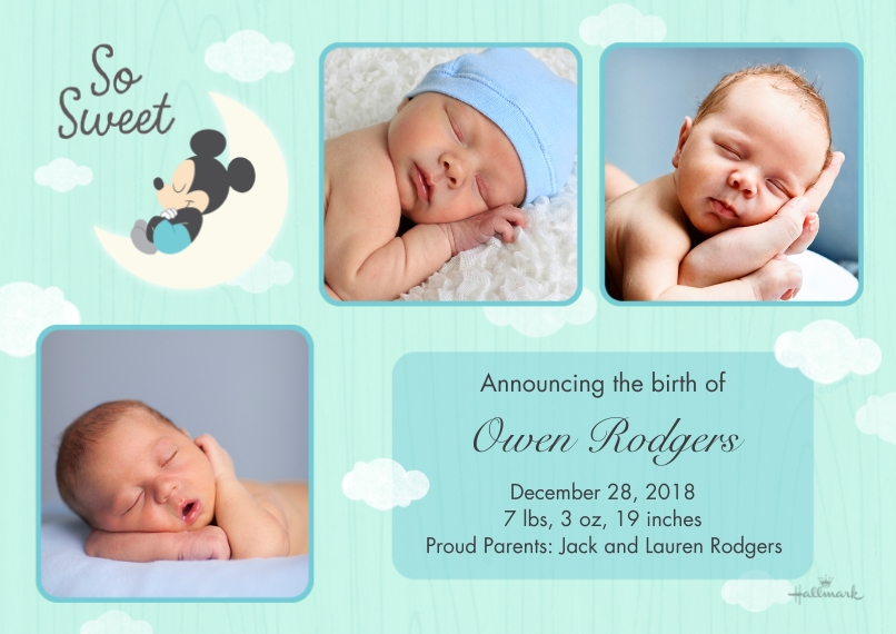 Baby Boy Announcements Flat Matte Photo Paper Cards with Envelopes, 5x7, Card & Stationery -So Sweet Moon - Mickey Mouse