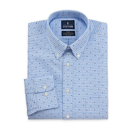 Stafford Mens Wrinkle Free Oxford Button Down Collar Fitted Dress Shirt, 15 32-33, Blue