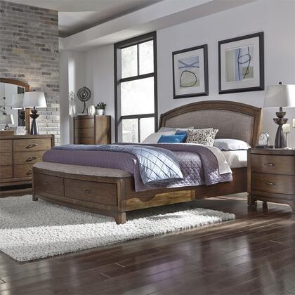 Liberty Furniture 705-BR-QSBDMCN 5 Piece Bedroom Set with Queen Size Upholstered Storage Bed  Dresser and Mirror  Chest  Nightstand in Pebble Brown
