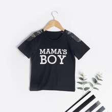 T-Shirt mit Camo Einsatz und Buchstaben Grafik