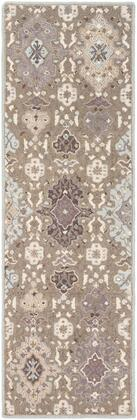 Castille CTL-2006 4' x 6' Rectangle Traditional Rug in Taupe  Ice Blue  Charcoal  Medium
