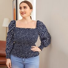Plus Puff Sleeve Frill Trim Shirred Allover Print Top