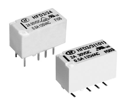Hongfa Europe GMBH , 5V dc Coil Non-Latching Relay DPDT, 4A Switching Current PCB Mount, 2 Pole (5)