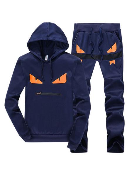 Milanoo Men Track Suit Little Monster Deep Blue Print Zipper Hoode Pullover Sweatshirt With Track Pant