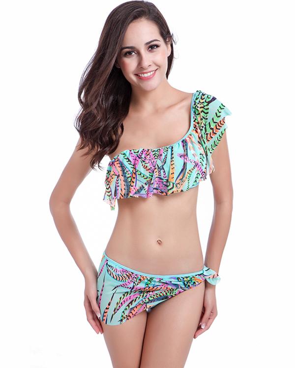 One Shoulder Ruffle Flounce Two-Piece Bikini Set